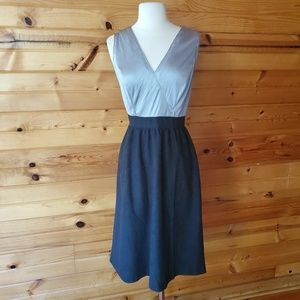 Vintage Unlabeled Gray & Black Dress
